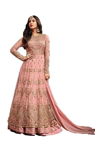 50872013439a Mahantam Designer Women's Net Mesmerizing Embroidered Worked Heavy Anarkali  Suit (Light Pink): Amazon.in: Clothing & Accessories