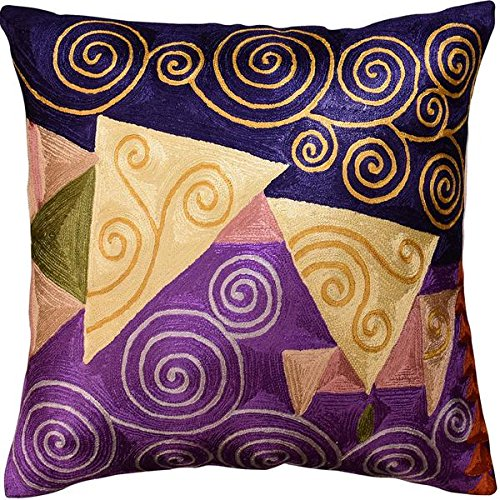 Navy Purple Decorative Pillow Cover Handembroidered Art