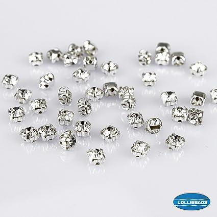 db85c4374764 100 piezas Estilo de Swarovski Diamantes de imitación de Costura de Cristal  checo Base de cobre 4 mm