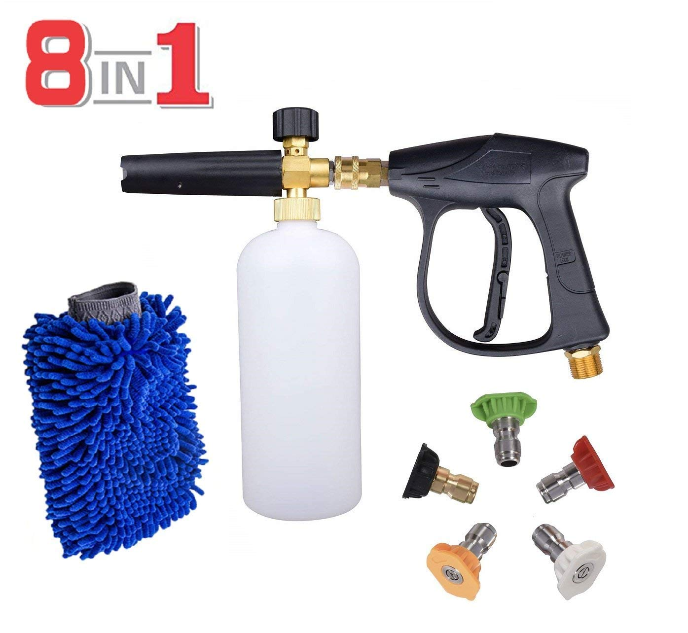 AYAOQIANG Snow Foam Cannon Adjustable Pressure Washer 1 Liter Bottle, Snow Foam Lance with 1/4 Quick Connector Foam Blaster for Pressure Washer Gun,5 Pressure Washer Nozzles for Cleaning with Glove by AYAOQIANG