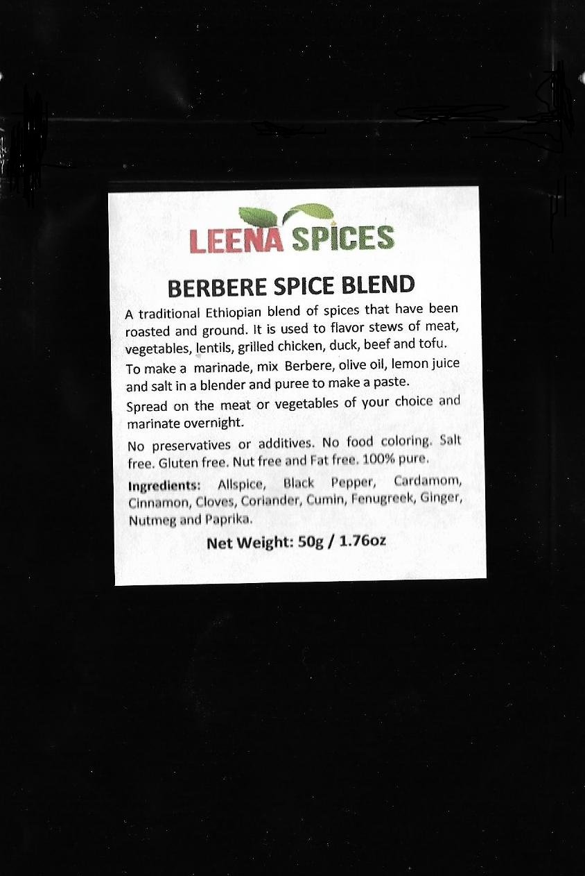 LEENA SPICES – Berbere Spice Seasoning – Mild Ethiopian Blend – Gluten Free – No Salt Or Food Color Mix – Enjoy Pure Quality Product.