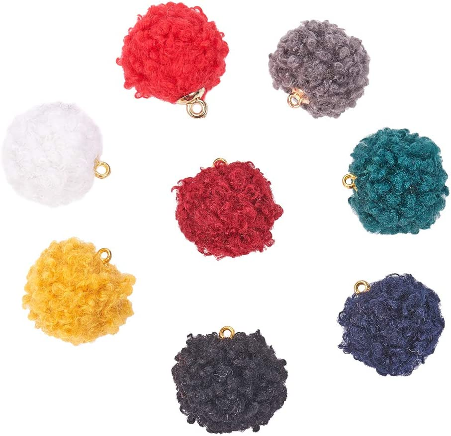 PH PandaHall 32pcs 8 Colors Flower Tassels 2.8 Inches Silk Lace Tassels Charms Pendants Big Key Chain Tassels for Bohemian Earring Jewelry Necklace Making Accessories