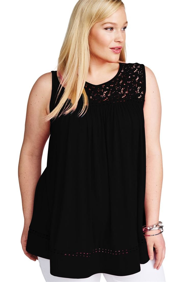 Jessica London Women's Plus Size Lace Yoke Tunic Black,18/20