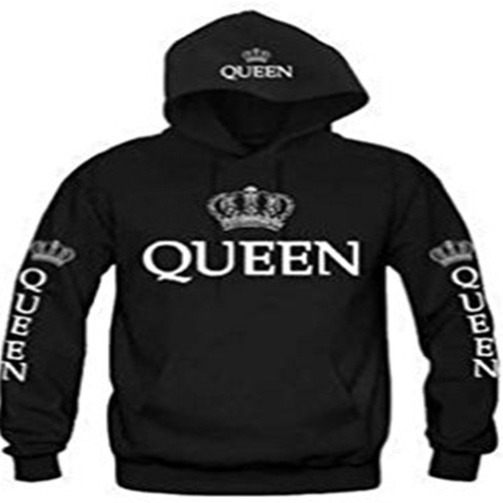 Meolin King & Queen Matching Couple Sweatshirt Hoodies with Cat Pouch,Female black QUEEN,S