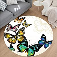Nalahome Modern Flannel Microfiber Non-Slip Machine Washable Round Area Rug-Monarch Butterflies Shades and Shadows Ombre Background Blue Pink Green Yellow and Black area rugs Home Decor-Round 32