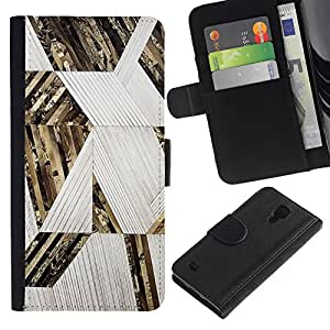 EuroTech - Samsung Galaxy S4 IV I9500 - Abstract Lines Pattern Gold White - Cuero PU Delgado caso Billetera cubierta Shell Armor Funda Case Cover Wallet Credit Card