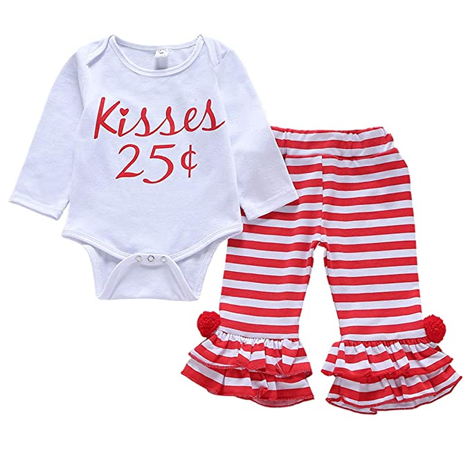 ed69f9843 Amazon.com: 2Pcs Newborn Baby Girls Clothes Long Sleeves Romper Words Top  Bodysuit Striped Pleated Pants Outfits Clothings: Clothing