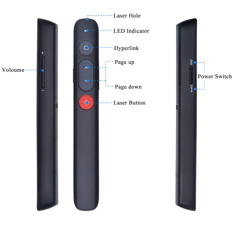Fernbedienung Sumeber Pointer Wireless Presentation Clicker Roter Laser Presenter mit englischem Handbuch Lieferung mit AAA-Batterie schwarz White