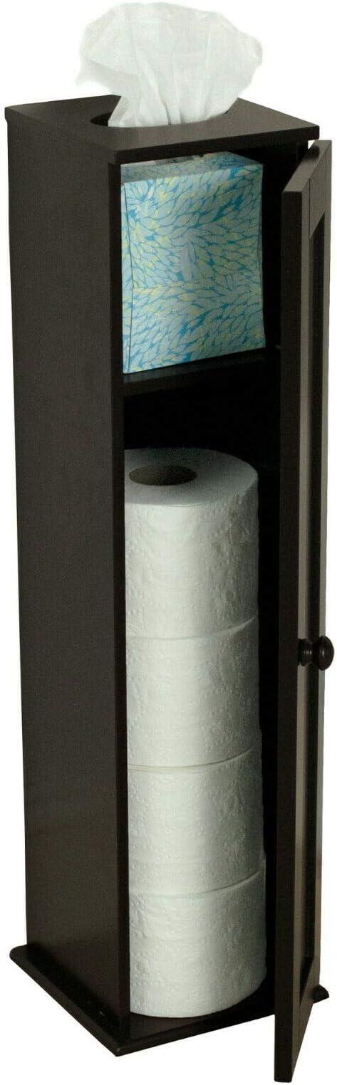 Basic-Center Free Standing Toilet Paper Storage Cabinet Tower Bathroom Organizer Furniture Towel Holder Display New Modern Nice