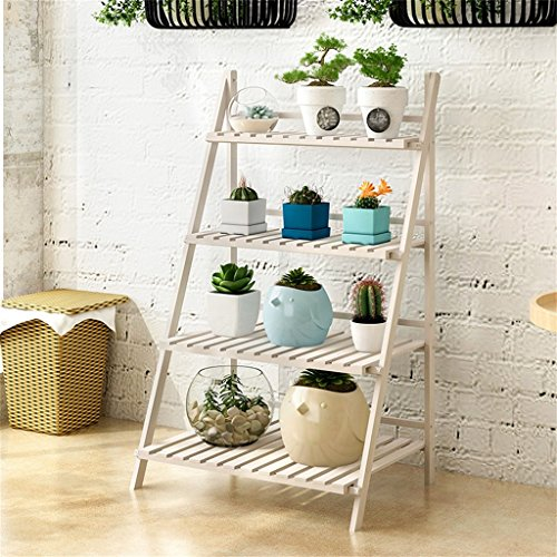 4 Tier Foldable Wooden Flower Display Rack, Indoor Flower Stand, Multifunction Retro Plant Stairs for Garden/Indoor/Outdoor/Balcony Flower Shelves (Color : White, Size : 78x48x114cm)