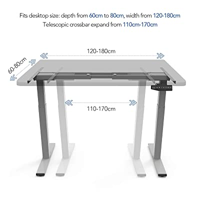 Grey AIMEZO Height Adjustable Electric Standing Desk Frame 2-Stage with 4 Automatic Memory Smart Keyboard
