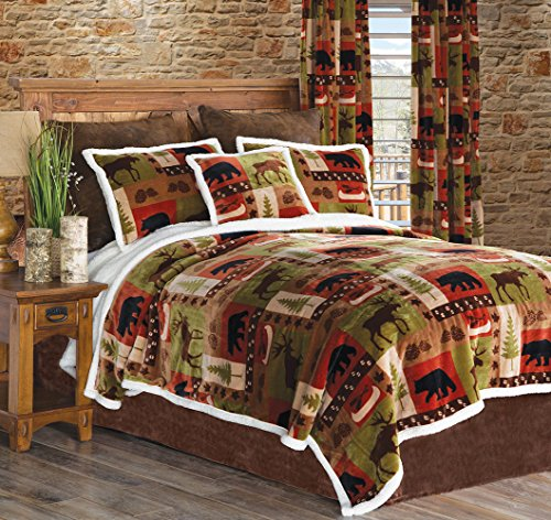 - Carstens Patchwork Lodge Plush Bedding Set, Queen, Multicolor