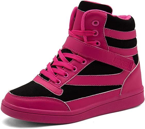 UBFEN Chaussures Femmes Baskets Mode Talon Compensé Plateforme Bottes Montante Sport Sneakers High Top Chaussure Wedges Heels Plat Scratch Compensées