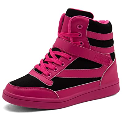 0a3c636d9730 UBFEN Chaussures Femmes Baskets Mode Talon Compensé Plateforme Bottes  Montante Sport Sneakers High Top Chaussure Wedges