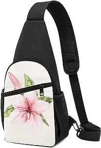 PGTry - Bolso bandolera con diseño de flores aislado, ligero, mochila para el pecho, bolsa cruzada, viajes, senderismo, para hombres y mujeres