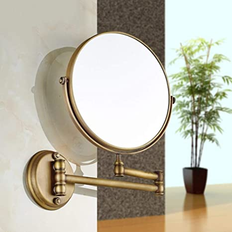 NAERFB Espejo de Maquillaje Extensible,antigüedades Espejo tocador de baño baño Lupa Plegable báscula de