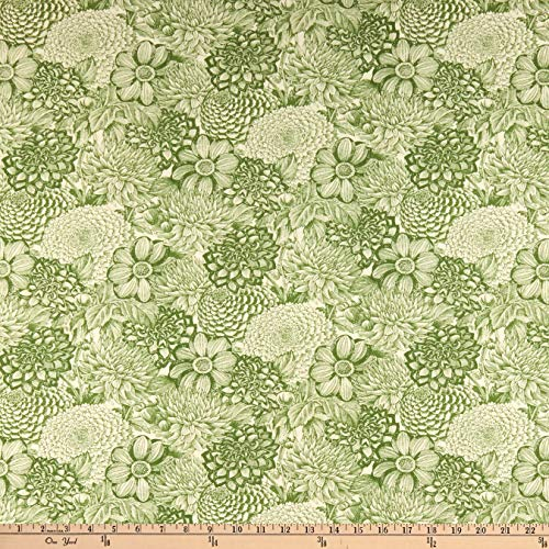 Wilmington Prints Le Bouquet Floral Toile Green, Fabric by the Yard