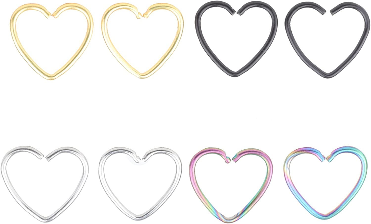 20G Heart Ear Nose Piercing Helix Cartilage Tragus Earring Stud Hoop Ring 10mm Surgical Stainless