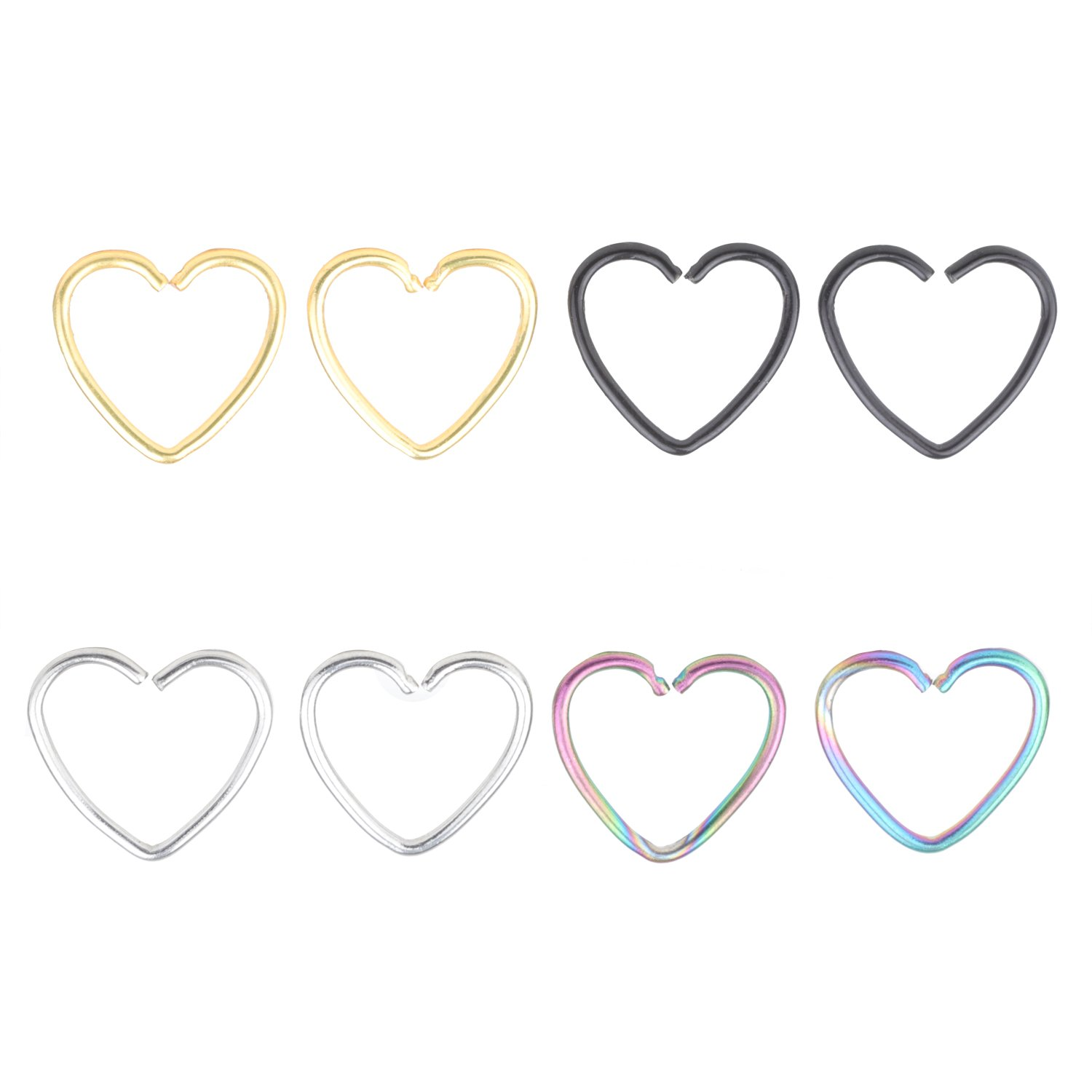 A+'s 4 Pair Surgical Steel Heart Shaped Lip Ear Nose Hoop Ring Earrings Clip Non Piercing Jewelry