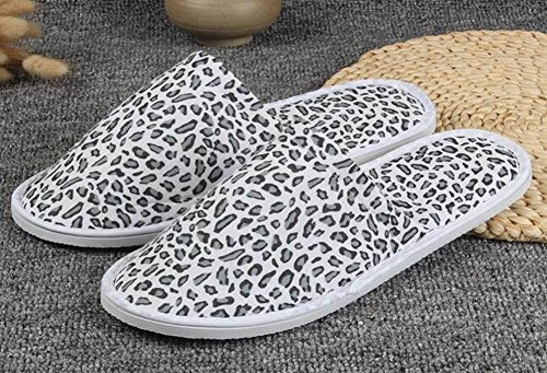 Closed Toe 10 Leopard Disposable Slippers Pairs Slippers Comfortable Black pxCSYTqwW