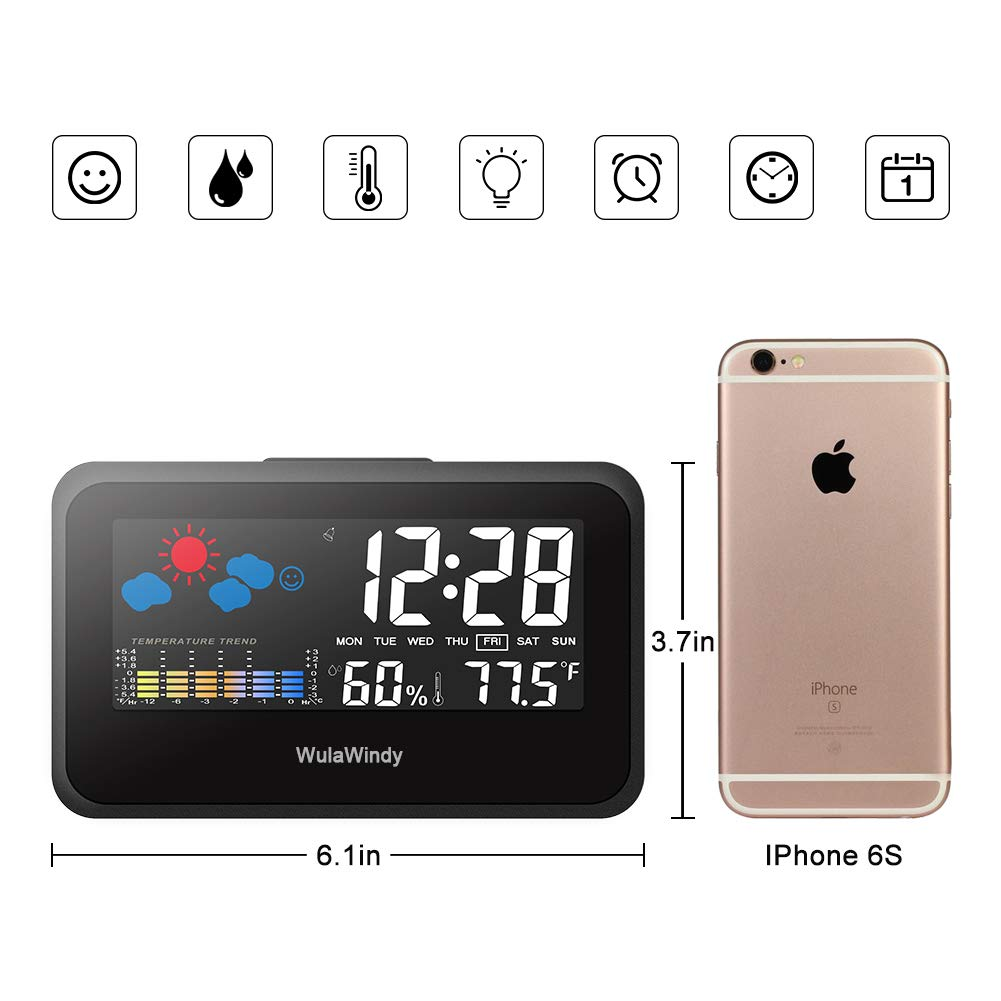 Digital Alarm Clock Thermometer Large Display with LED Light Temperature Humidity for Home Travel Battery USB Operated by WulaWindy (Image #3)