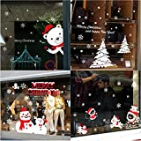 4 Set Xmas Shop Window Sticker Merry Christmas Glass Wall Window Decoration with Snowman Removeable Home Decorative Art Decor Mural Decals (All Pattern, All Size)