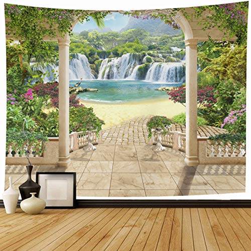 Ahawoso Tapestry Wall Hanging 80x60 Digital Arch Mural Lovely Terrace Views Waterfall Vintage Nature Flower Parks Fresco Garden Painting Home Decor Tapestries Decorative Bedroom Living Room Dorm from Ahawoso