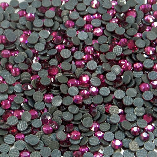 "100% Custom Made (5mm) 720 Bulk Pieces of Mini Size ""Glue-On"" Flatback Embellishments for Decorating, Made of Acrylic Resin w/ Shiny Iridescent Crafting Rhinestone Crystal Fuchsia Gem Style {Pink} by mySimple Products"