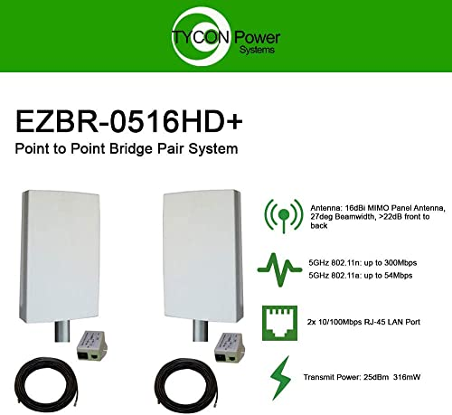 EZ-Bridge-LT5 HD 100MB, 5GHz 802.11an Pt Pt Secure Bridge Pair, Shield Outdr 75 CAT5 Cables Surge Prot 24V PoE Ins, Plug n Play, 25dBm Out 14dB Ant, 3mi Range, Wall Pole 1-2 Mt Brckts, 4W Pwr