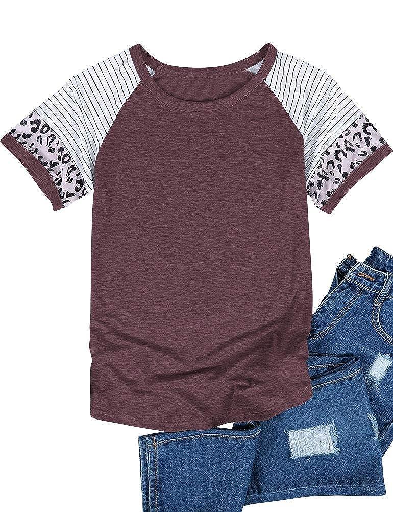 YNALIY Womens Short Sleeve Leopard Stripe Color Block Tunic Comfy Stripe Crewneck T Shirt Top