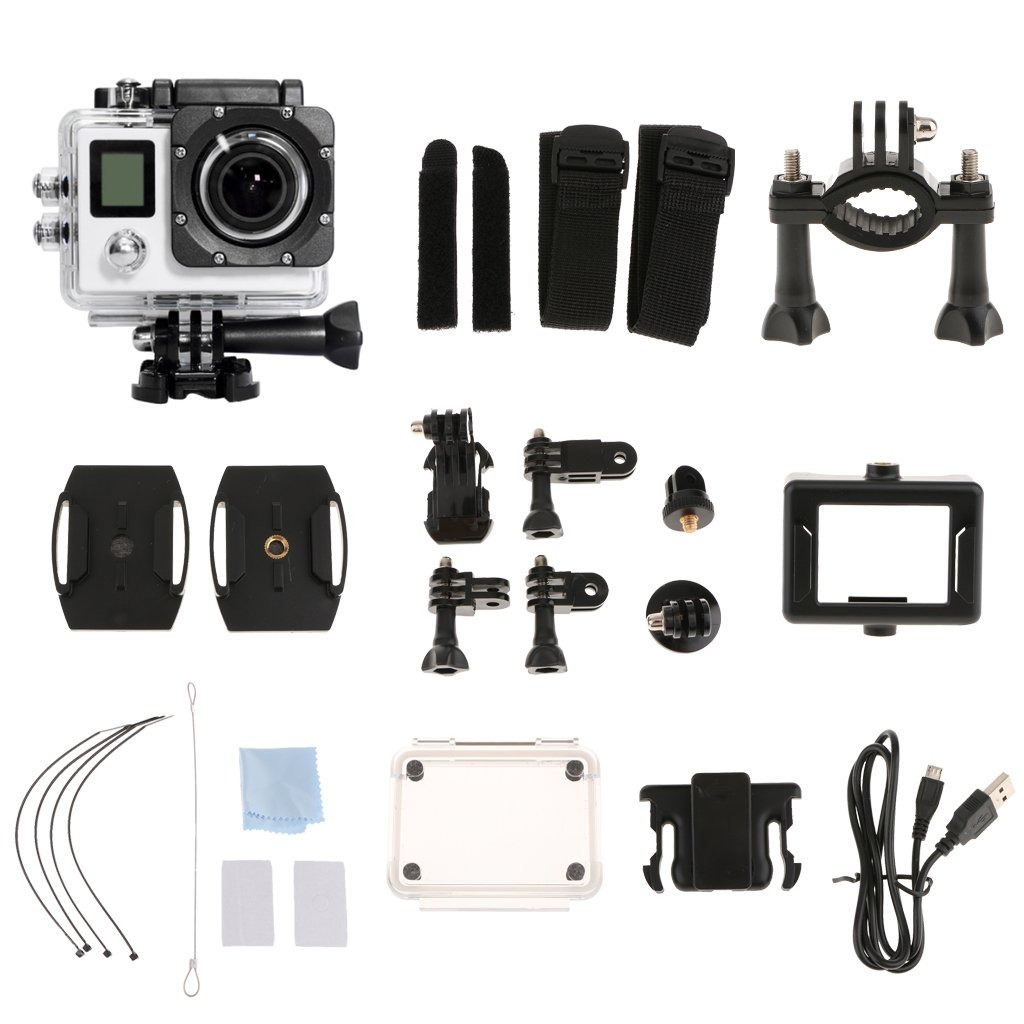 Fenteer Action Camera 4k Ultra Hd 1080p Wifi Waterproof Mini Sport Sportcam 16 Mp Cam With 16mp White Chic