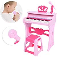 Piano Keyboard Toy, Piano Learning Toy, Piano with Microphone and Stool Music Toy Early Educational for Kids Childhood…