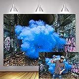 MME 7x5Ft Graffiti Backdrop Blue Smoke Fashion