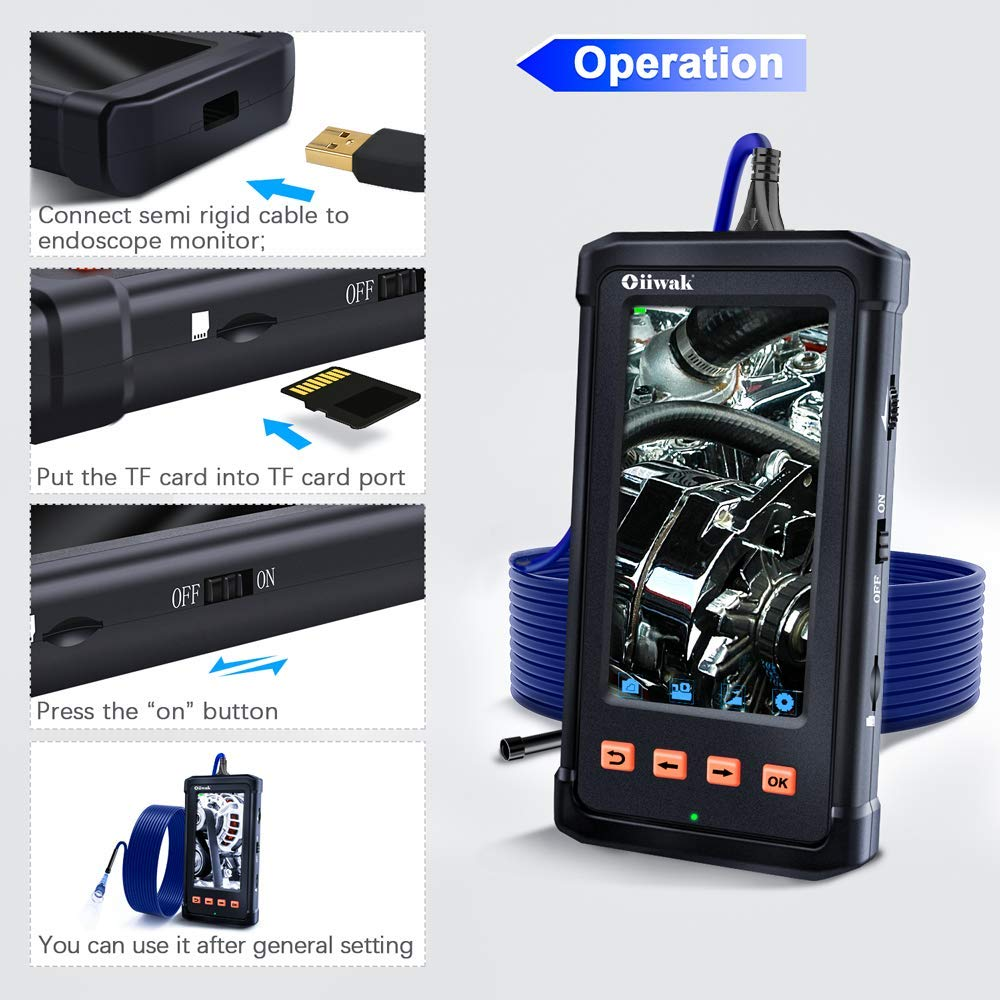 1.5m//4.92ft Oiiwak Viewider Industrial Endoscope 4.3inch LCD Screen with 5.5mm Borescope 1080P HD Micro Inspection Camera 2800mAh Battery Semi-Rigid Tube