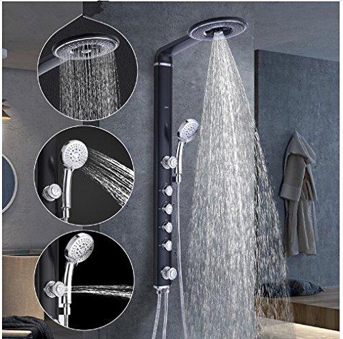 Gowe bathroom wall shower faucet set black wall shower mixer set Waterfall Rain Shower set ABS Panel 2 Massage Jets SPA 0