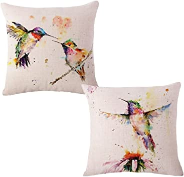 US Seller-set of 2 decorative pillows hummingbird flower hydrangea cushion cover