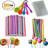 Lollipop Sticks 305 Pieces Set 100 PCS Colorful Stick and 100 PCS Parcel Bags with 100 PCS Baking Twist Ties 5 PCS Measuring Spoon for Candy Chocolates and Cookies Funny Lollipops Making