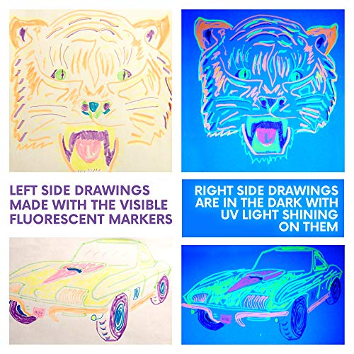 Spy Pen Black Light UV LED Party Kit - 9 Spy Pens 3 Unique Invisible Ink Colors to Light up with UV Flash Lights - 6 Fluorescent Neon Markers so Kids can Draw Fun Posters to Fluoresce by UV Lamp by BLT for Kids (Image #4)