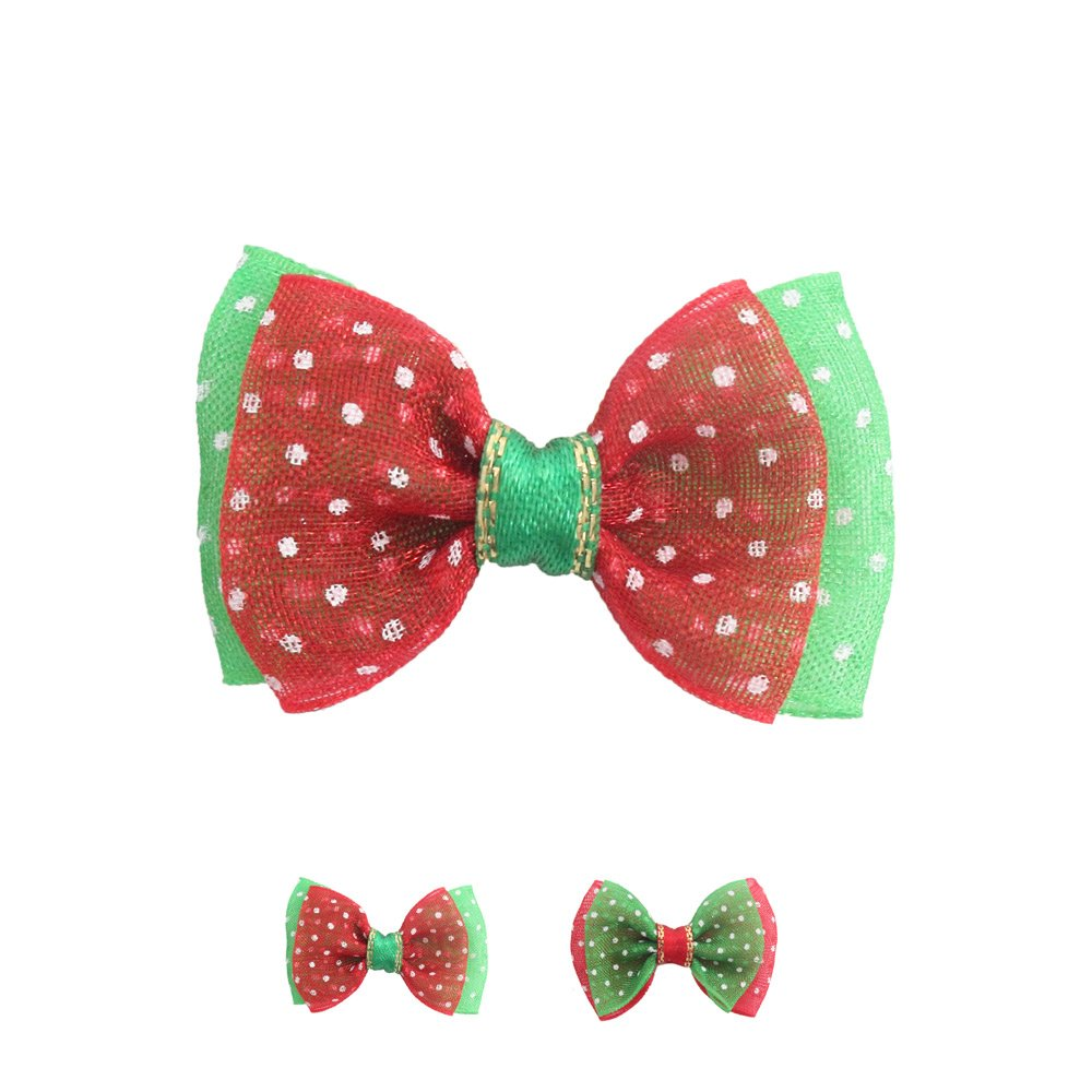 100PCs Handmade Christmas Dog Bow Tie Tull Wave Point Celebrate Christmas Dress up Puppy Pet