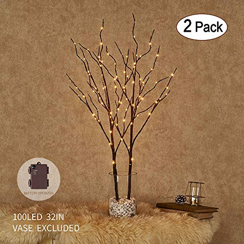 Hairui Brown Willow Branches with Fairy Lights 32in 100LED Pre lit Twig Branches with Timer Indoor Outdoor Use Battery Operated 2 Pack (Vase Excluded) (Tree Birch Brown)