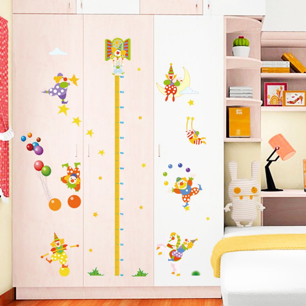 Cartoon Animals Growth Chart Wall Stickers Height Measurement Removable Wall Decals Home Decor Art Mural Baby Boys Girls Kids Bedroom Kitchen Room Decoration (Big Tree Height Measurement) Top of top store