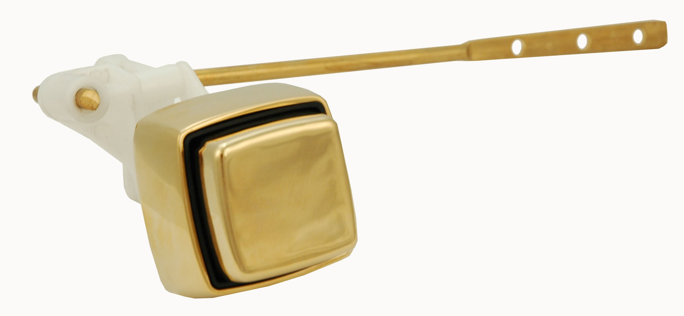 Tank Lever, Toilet Tank Lever - Push-button Type, Front Mount, Polish Brass Finish - By Plumb USA