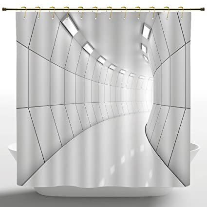 IPrint Fancy Shower Curtain By Apartment Decor CollectionModern Illuminated Long Corridor Geometric Futuristic