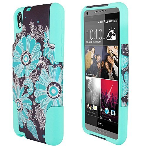 3 items Combo: ITUFFY(TM) LCD Screen Protector Film + Stylus Pen + 2 tone Design Dual Layer KickStand Tuff Impact Armor Hybrid Soft Rubber Silicone Cover Hard Snap On Plastic Case for Virgin Mobile HTC Desire 816 (5.5