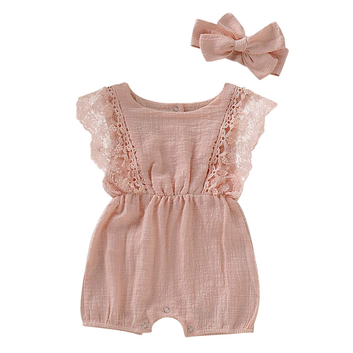 Bowknot Headband Outfits Set puseky Infant Baby Girl Lace Sleeve Elastic Waist Romper