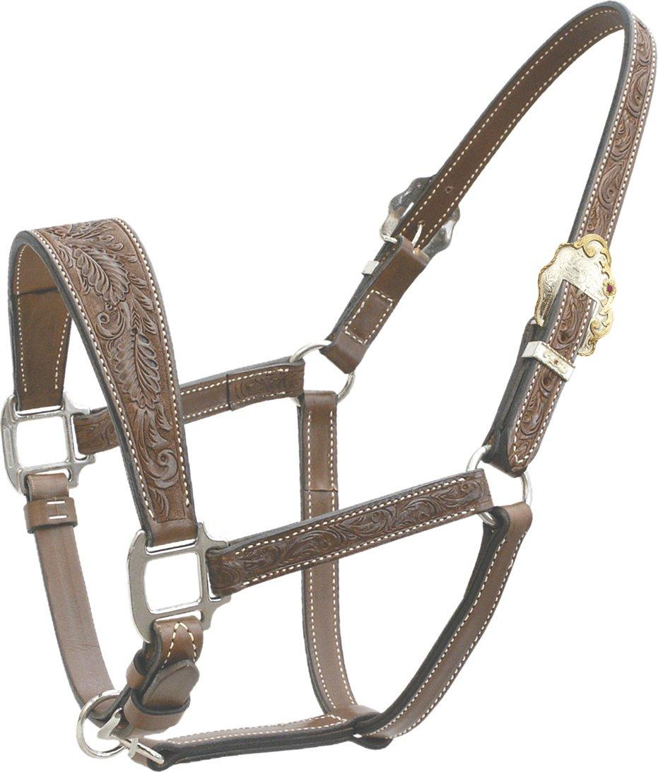 Western Brown Leather Hand Basket Tooled Noseband
