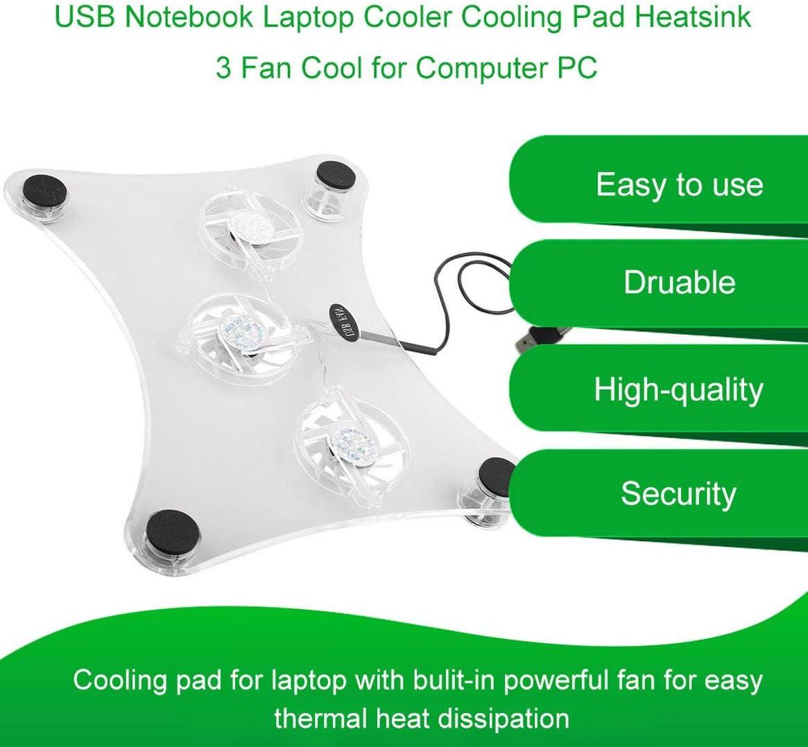 Kongqiabona-UK USB Laptop Cooler Pad di Raffreddamento Dissipatore di Calore 3 Ventola di Raffreddamento per PC PC Bulit-in Potente Ventola