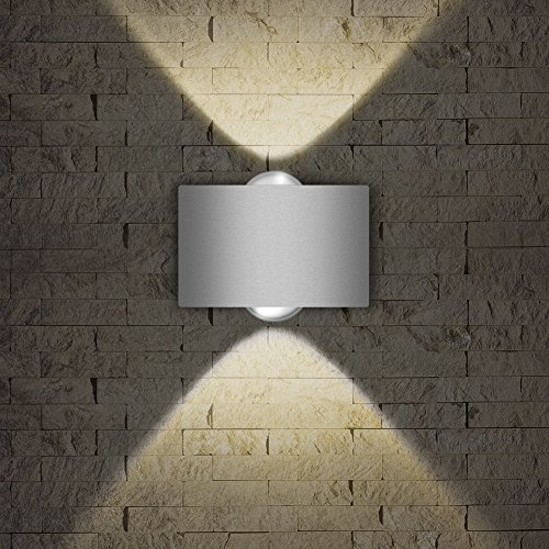 LED Exterior Wall Lighting Fixtures,INHDBOX Interior Wall Sconces Lamp Waterproof up Down Light White Outdoor/Indoor Decor 85-265V (2W-Warm (4 Light Outdoor Sconce)