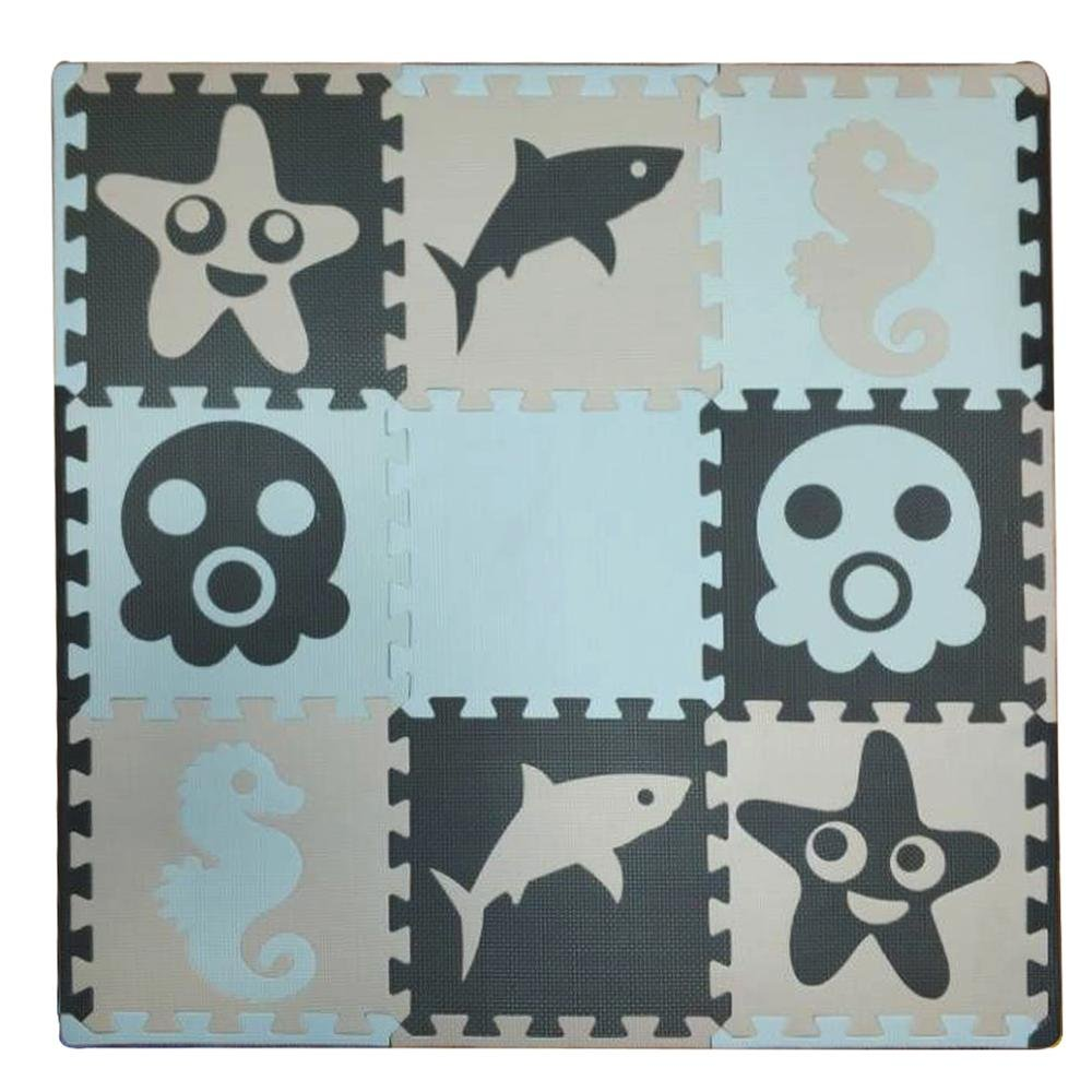 Meitoku Kids Foam Puzzle Play Mat -Marine life Theme- Floor Tiles (90 x 90cm) (Black, Grey, White)