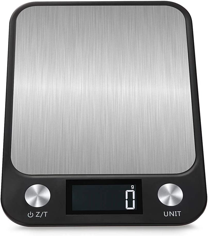 Kitchen Scale Multifunction Digital Food Scale, 22 lb 10 kg Capacity, Ultra Slim Stainless Steel with Large LCD Display Tare Function(Black)